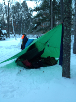 Winter Camping with a Tarp Shelter